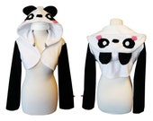 Cute anime panda cosplay costume hoodie (shrug style), kawaii, japan, jfashion, lolita, animal costume, panda bear, cheeky, pink cheeks