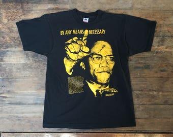 VTG 1990 Malcolm X T-Shirt - Medium - Intelligence - Political - Black Lives Matter - Vintage Tee - Vintage Clothing -