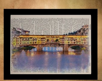 SALE-SHIPS Aug 22- Florence Italy Ponte Vecchio Tuscany Dictionary Print Bridge Travel Print Gift Ideas Wall Art Home Decor da802