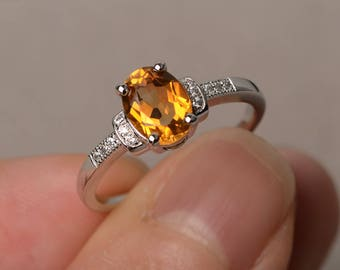 Sterling Silver Natural Citrine Ring Silver Yellow Gemstone Jewelry November Birthstone Ring Prong Setting Ring