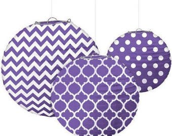Set Of Three Purple & White Beautifully Patterned Paper Lanterns In 3 Sizes - Wedding - Anniverary - Birthday - All Occasion Party Decor