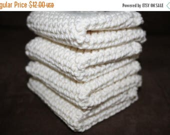 10% OFF SALE Knit Wash Cloth Set of 4, Knit Dish Cloth, Ivory Knit Wash Cloth, Ivory Knit Dish Cloth