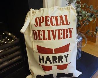 Santa Boots Christmas Sack/personalised sack/christmas sack