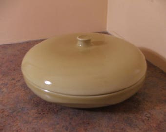 """Vintage 1950s Russel Wright Iroquois Casual 10"""" Divided Vegetable Serving Bowl with Lid in Mustard Gold"""
