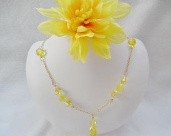 Handmade yellow beaded necklace