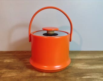 Mid Century Orange Kraftware Ice Bucket / Retro Barware