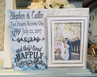 """Wood Sign, """"And They Lived Happily Ever After"""", Wedding Frame, Peronalized Wedding Frame, Anniversary Gift, Wedding Frame Gift"""