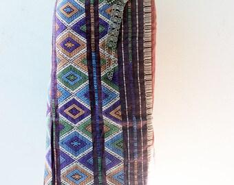 Lao Thai silk textile - sarong decoration style - narrow table runner - silk weaving(Sarong Dress)