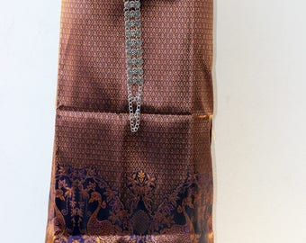 Thai silk textile - sarong decoration style - narrow table runner - silk weaving (Sarong Dress)