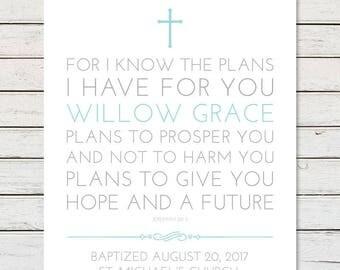 BAPTISM PRINTABLE, Baptism Gift, Girl Baptism Gift, Boy Baptism Gift, Baptism Verse, Baptism Scripture, Jeremiah 29:11, Christening Gift