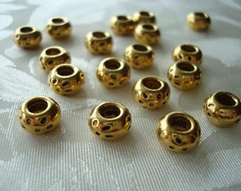 30 Fine, Golden, Smooth, Heavy, Rondelle Spacers With Antiqued Leopard Spots. 8x5mm Extra Large Holes 2.7mm Quality Pewter. ~USPS Ship Rates