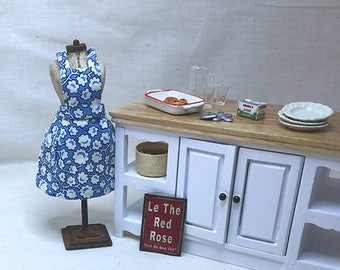 Miniature Dollhouse Vintage Inspired Apron with Bib - French Blue Graphic