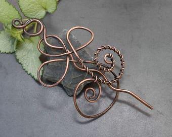 Antique copper  Hair bun  holder ,antique copper Hair Stick, antique copper Hair bun slide for long hair. hair brooch.