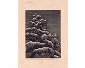Tree Lino Print - The Dartford Tree by Jennifer Rampling