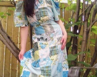 1970s patchwork  blue and green off the shoulder bohemian peasant  maxidress