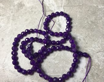 Faceted amethyst beads,amethyst bead strand,amethyst beads,faceted amethyst bead strand,amethyst gemstone beads,4mm faceted amethyst beads