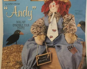Vintage 1990s, Daisy Kingdom, Scarecrow Andy, 22 inch Doll Kit, Scarecrow Doll,Soft Sculptured Doll, Doll Panel Fabric, Rag Doll, Sewing Kit