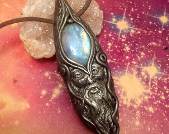 The Wizard. Man Crystal Pendant.  Magician, Sage, Wise Old Man. Crystal Necklace Men. Unique Men Gift. Wicca Wiccan. Purple Labradorite