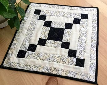 Sale Black and Cream Quilted Table Topper Handmade Square Patchwork Table Runner or Wall Art Free Shipping
