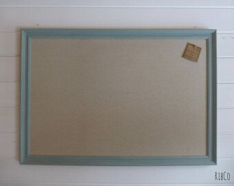 Extra Large Notice Board Memo Board Pin Board. Hand made Pin Board 'Fancy' Aged Duck Egg Blue Frame with linen backing