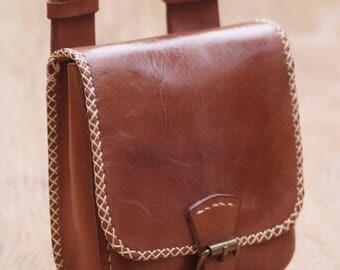 Belt pouch, festival bag, Leather belt Pouch bag, broun leather, full grain belt bag leather. Borsello marsupio per tabacco.