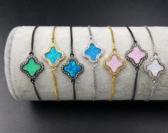 WT-MB005 NEW! colorful opal four leaf clover bracelet Lovely chic link chain charm tiny bracelet