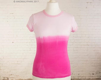 Womens pink pastel goth tshirt ribbed cotton tee ombre dip dyed pink hot pink gradient womens top pastel grunge clothing gift for her size L