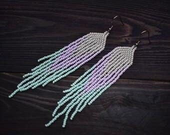 Beaded earrings, Pastel colors, fringe earrings, tassel earrings, seed bead  tribal gipsy earring grey, purple, mint, bellydance earrings