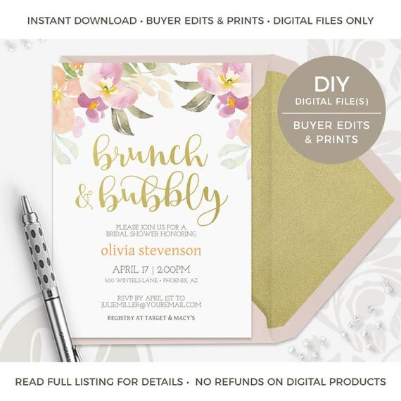 Brunch And Bubbly Bridal Shower Invitation Instant Download
