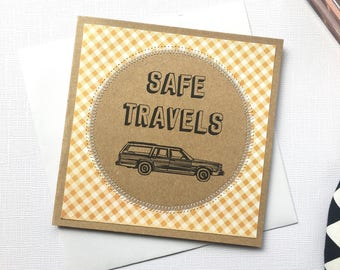 Safe travels / bon voyage vinatge retro design  travel handmade greeting card / travel card / miss you card
