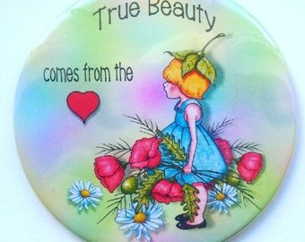 "Purse or Pocket Mirror, 3.5"", True Beauty Comes From the Heart, Small Girl With Poppy Flowers, Whimsical Art, Handy Mirror in Organza Bag"