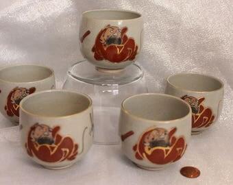 RARE Daruma Set of Five Tea Cups Made in Japan Bodhidharma Signed on bottom