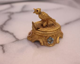 Vintage Salt bowls trinket box Gold tone with Bird on top Red eyes Flowers and small spoon