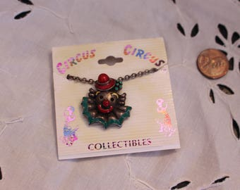 Vintage Red and Green Clown Head Necklace Circus Circus Collectibles Original Packaging
