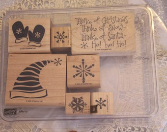 Stampin Up Merry set of 7  stamps for Scrapbooking or Card Making Words and picture stamps