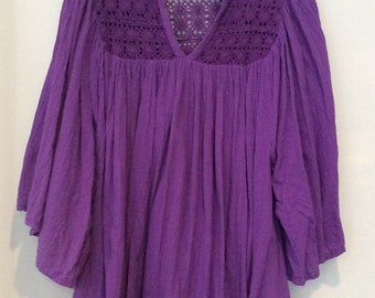 1970s Purple Gauze Dress with Crochet Trim