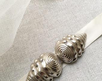 Huge Art Deco Seashell Buckle. Vintage Silver Dress Trim. Beach Wedding. Seashell Belt Clasp. Wedding Sash Trim.