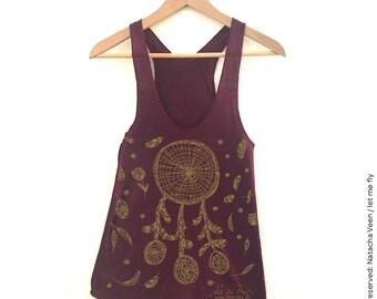 DreamCatcher, top, american apparel, woman, Burgundy, tank top, women, illustration art print, birthday gift, dreamcatcher, flower