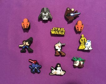 11-pc Star Wars Shoe Charms for Crocs, Silicone Bracelet Charms, Party Favors, Jibbitz