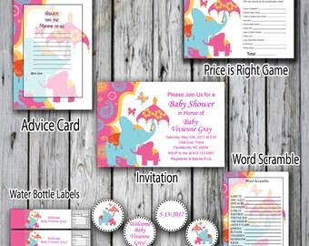 Baby Shower Invitation  Asian Elephant Baby Shower Pack- Blue Elephant Invitation-Pink and blue Elephant Invitation-Bohemian elephant baby