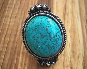 Large round turquoise adjustable ring