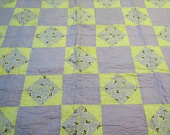 Vintage Baby Quilt Lavender and Yellow