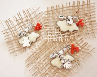 "Born lucky-coral-""beige cloud brooch"