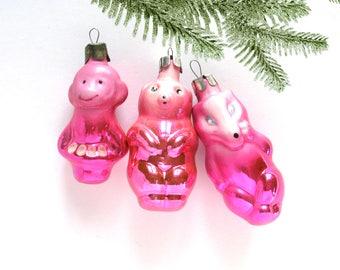 Wolf, Bear, Monkey, Set of 3 soviet Christmas tree decoration, Animal, Christmas glass ornament, Russian New Year, Soviet Union, 1970s