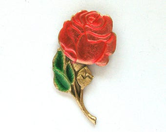Red Rose, Vintage metal collectible badge, Flower, Soviet Vintage Pin, Vintage Badge, Made in USSR, Soviet Union, Retro