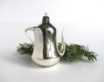Silver teapot, Kettle, Soviet Christmas tree decoration, Christmas glass ornament, Russian New Year,  USSR, Soviet Union, 1960s
