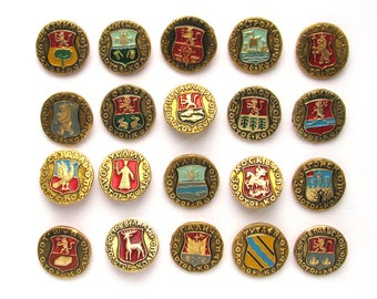 Golden Ring, Coat of Arms of Russian Towns, Set of 21 badge, SALE, Badge, Russia, Soviet Vintage metal collectible pins, Made in USSR
