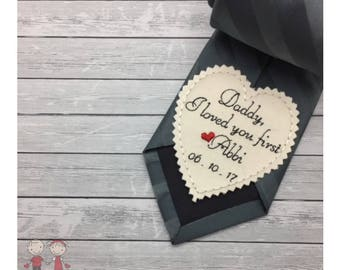 Wedding Tie Patch Father of Bride- Heart Tie Patch- Coat /Vest Patch- Dad Gift-Custom Tie Patch-Embroidered Patch