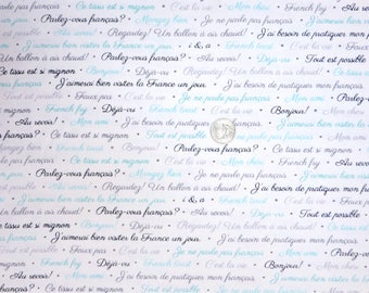 Quilting Treasures  C est La Vie Light Teal and Gray French Script on script fabric Etsy
