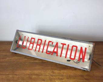 Vintage gas station / auto store lighted sign - Lubrication
